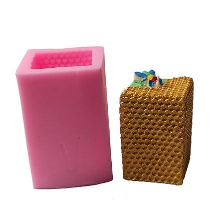 Moldes de repostería DIY silicona molde colmena cuadrada mortaja para Faire Des jabones, velas,