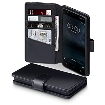 release date c83ac 05bfc TERRAPIN, Compatible with Nokia 3 Case, GENUINE LEATHER Wallet Flip Cover -  Black