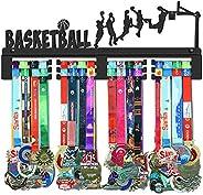 GENOVESE Basketball Medal Holder Display Hanger Rack,Super Sturdy Black Steel Metal,Wall Mounted Over 70 Medal