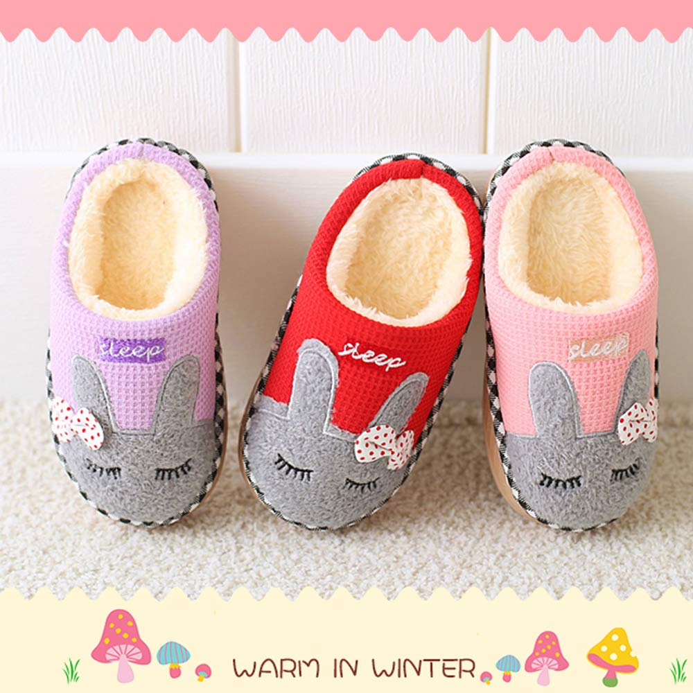Kids Bunny Slippers for Girls and Boys, Cute Winter Warm Indoor House Baby Fur Lined Fluffy Hard Sole Shoes - 1718 Purple 21