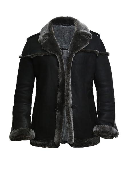 Brandslock Hombre Negro de piel de oveja chaqueta de aviador Merino Abrigo de invierno gruesa piel