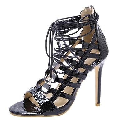 b970069d398 Polwer Women Sexy High Heels Stiletto Gladiator Cross Strap Pump Open Toe  Sandal (5