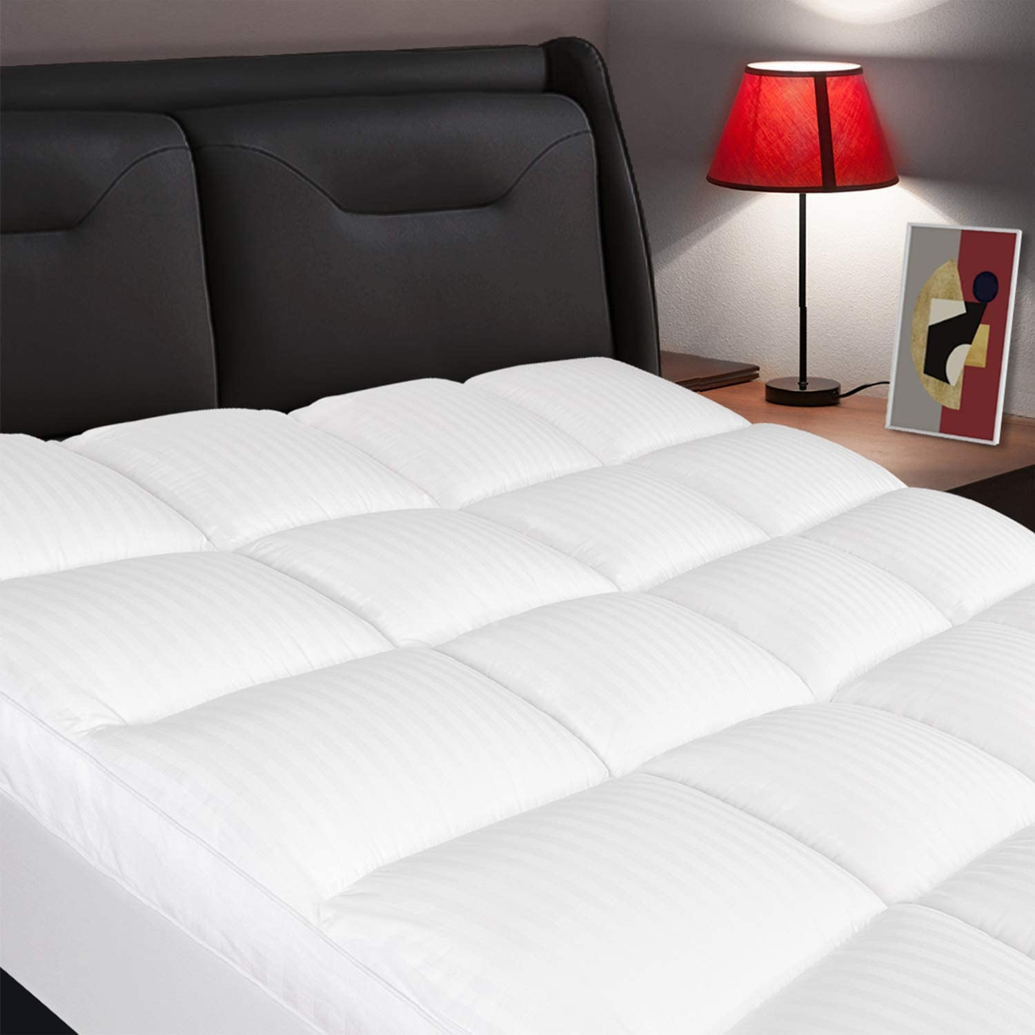 ELEMUSE Twin XL Mattress Topper, Extra Thick Mattress Pad Cover, Plush Quilted Pillowtop with 8-21 Inch Deep Pocket, Soft Hypoallergenic Down Alternative Fill