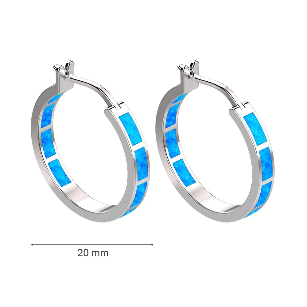 LANMPU Jewelry 925 Sterling Silver Blue Synthetic Opal Inlay Heart Stud Earrings for women DD9iq2MKs