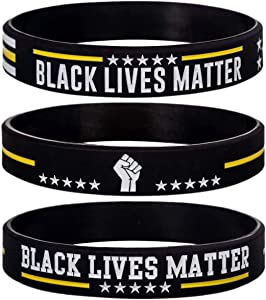 Sainstone Black Lives Matter Silicone Bracelets - #BLM Movement for Freedom, Liberation & Justice Motivational Rubber Wristbands - Support Black Imagination & Innovation Gifts for Men Women