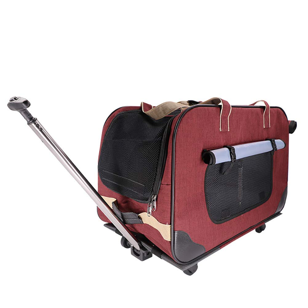 Red Pet Rolling Carrier Backpack,Pet Wheels Rolling Carrier Super Quiet Universal Wheel Three Side Breathable Two-Degree Adjustment Lever Suitable for pet,Red