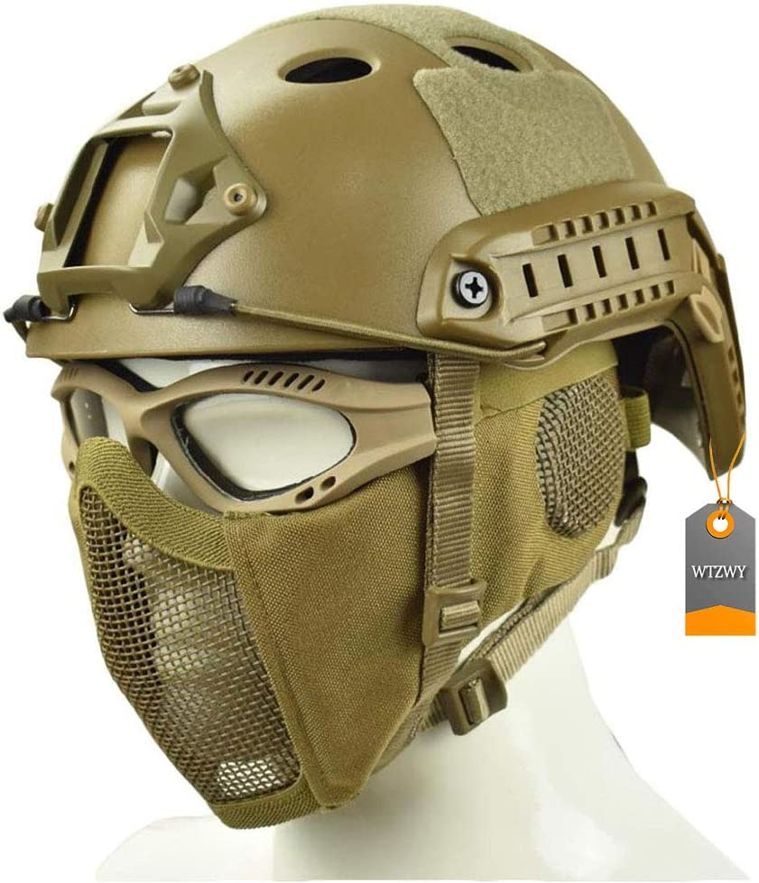 WTZWY Cascos rápidos Airsoft Paintball, con máscara de Malla de Acero y Juego de protección de Gafas tácticas para CS Army War Game Hunting Deportes al Aire Libre