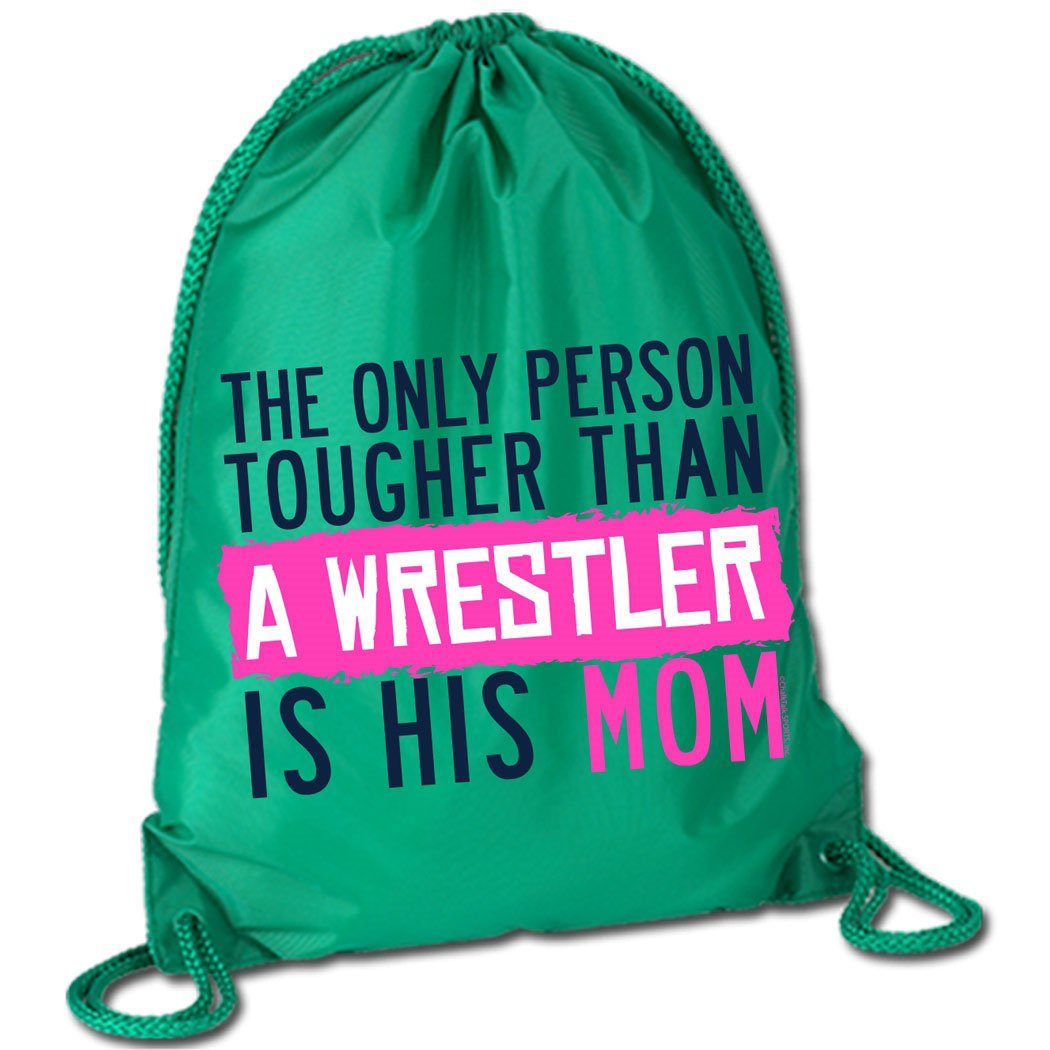 Tougher Than A Wrestler Mom Cinch Sack | Wrestling Bags by ChalkTalkSPORTS | Kelly Green