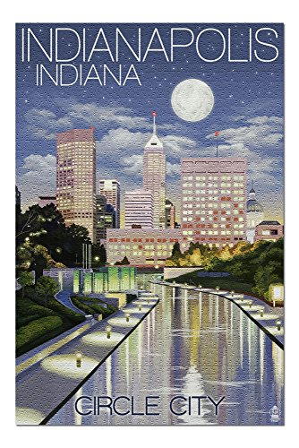 Indianapolis, Indiana - Indianapolis at Night Circle City (20x30 Premium 1000 Piece Jigsaw Puzzle, Made in USA!)