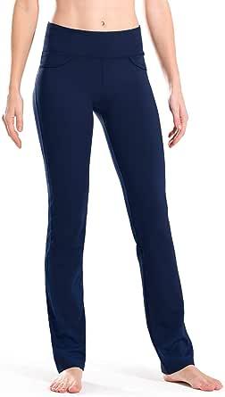 "Safort 28""/30""/32""/34"" Inseam Regular/Tall Mid-Waist Straight Leg Yoga Pants, Four Pockets, Non-See-Through, Black"
