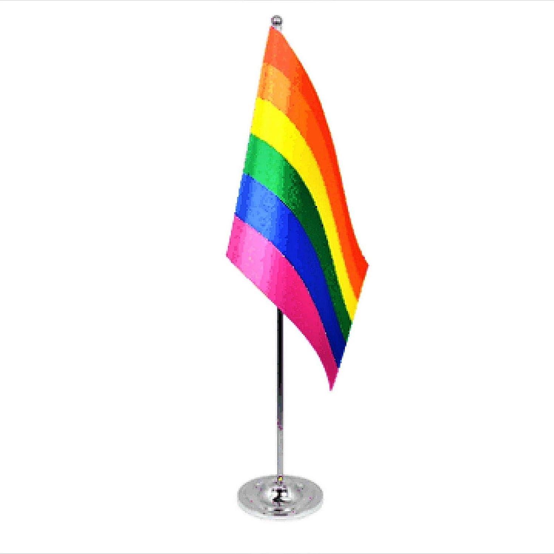 Rainbow LGBT Gay Pride Tischflagge aus Satin und Chrom