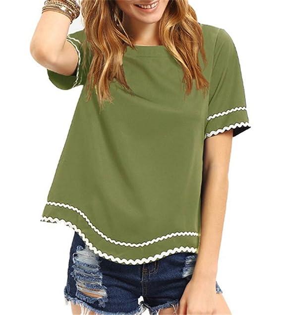 AILIENT Mujeres Sencillas Camisetas Manga Corta Tshirts Tallas Grandes Flojo Blusas Cuello Redondo Camisas Clasicos Blusas