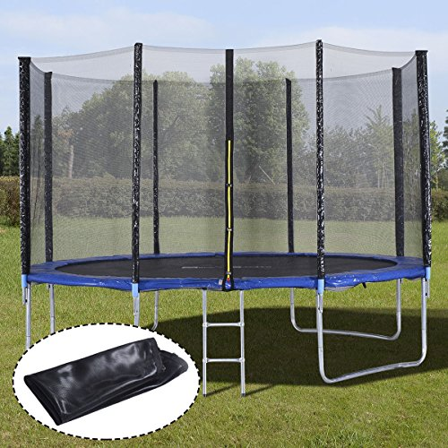 Giantex 12 FT 15 FT Kids Trampoline with Enclosure Net Jumping Spring Mat, Jump Outdoor Trampoline for Family School Entertainment, Trampoline with Pad Ladder and Rain Cover