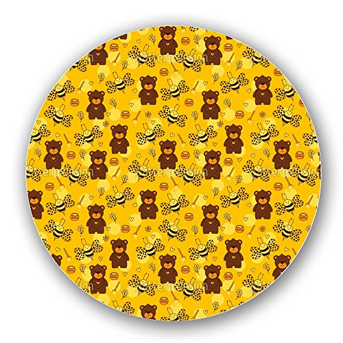 Uneekee Bears And Bees Lazy Susan: Large, Dark Wooden Turntable Kitchen Storage (Tangerine Dots Chocolate)