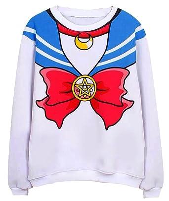 Sailor Moon Harajuku Sweater Print Top Cute Kawaii Cosplay Japan Anime Free Size Red Blue