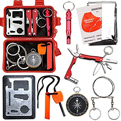 Survival Kit EMDMAK Outdoor Emergency Gear Kit for Camping Hiking Travelling or Adventures