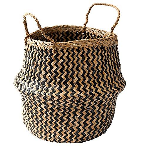 eb808340c Black Chevron Patterned Belly Basket - Panier En Osier 2 tons