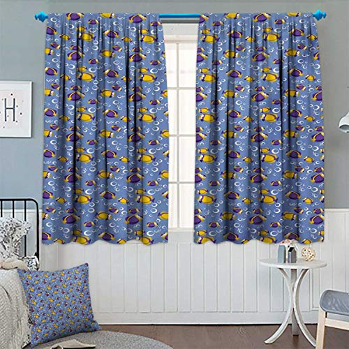 Chaneyhouse Yellow and Blue Thermal Insulating Blackout Curtain Swimming Fishes Aquarium with Bubbles Underwater Wildlife Pattern Patterned Drape for Glass Door 55