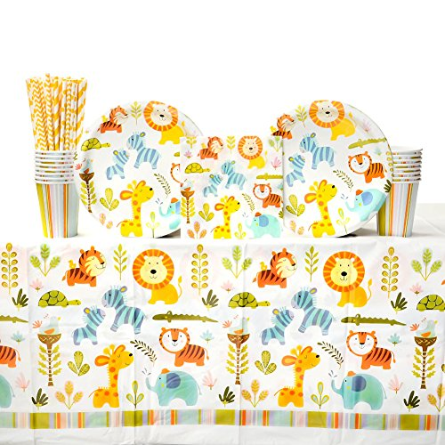 (Cedar Crate Market Bundle: Happi Jungle Baby Shower Party Supplies Pack for 16 Guests: Straws, Dinner Plates, Luncheon Napkins, Table Cover, and)