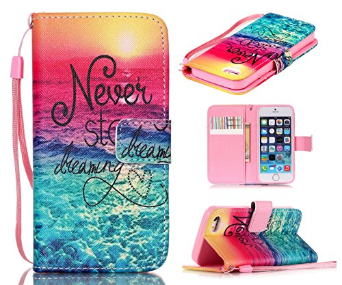 welity iPhone SE Case,iPhone 5S Case, iPhone 5 Case, Never Stop Dreaming Quotes Saying Seaside [ Wristlet ][ Kickstand ] PU Leather Wallet [Credit Card/Cash Slots] Flip Cover for iPhone SE/5/5S