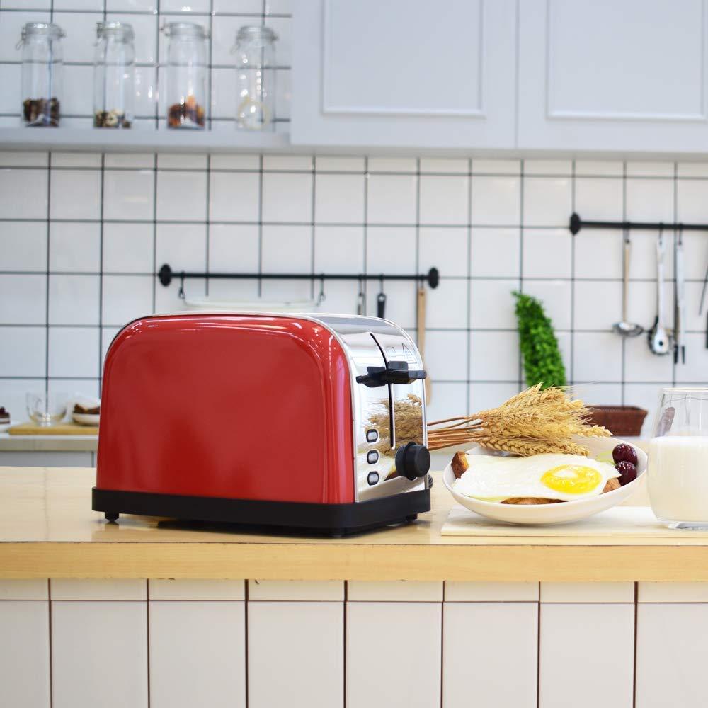 LATITOP Rot 2-Scheiben Toaster mit Breiter Steckplatz, Edelstahl-Toaster mit herausnehmbarem Krümelschublade, 7-farbiger Farbeinstellung, LED-Anzeige, Hoher Hubhebel für kleine und große Brotscheiben, Bagels