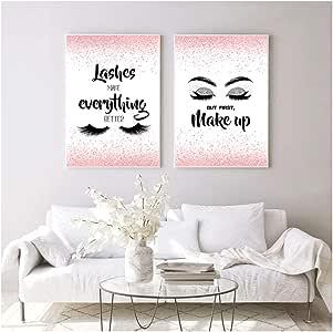 Arte de pared Lámina de maquillaje Pestañas Mejora todo
