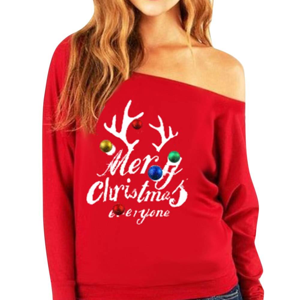 Sudadera sin Mangas de Manga Larga Suéter Estampado Tops Blusa LILICAT® Feliz Navidad a Todos Sudadera con Estampado de Letras (S/M / L/XL / 2XL / 3XL): ...