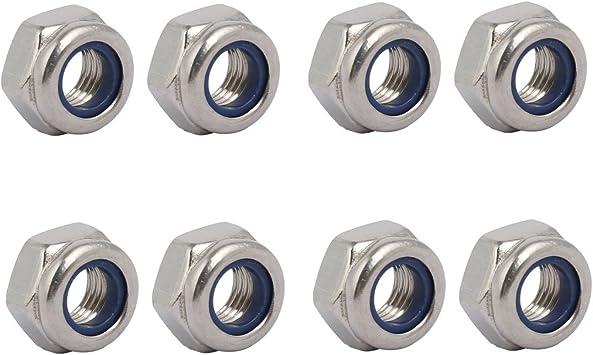 acero inoxidable 304 4 unidades M8 x 1 mm Tuerca hexagonal de rosca fina