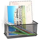 Black Wire Mesh Magnetic Storage Basket / Office Supplies Accessory Organizer Tray - MyGift®