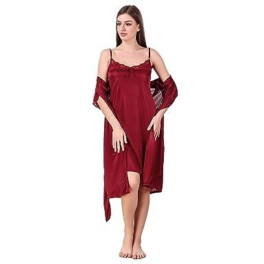 49a56f03e9 Nityakshi 2 Pc Women's Hot Night Robe and Night Slip/Nighty for Ladies hot  Sexy/Women Satin Nightwear 2 Pc Set of Nighty & Wrap Gown: Amazon.in:  Clothing & ...