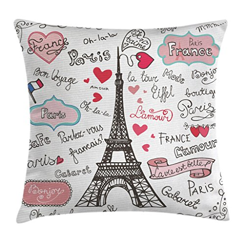 Ambesonne Eiffel Tower Decor Throw Pillow Cushion Cover, Paris Lettering Heart Flag Ornamental Sketchy Doodle Decor, Decorative Square Accent Pillow Case, 16 X 16 Inches, Pink Black and White