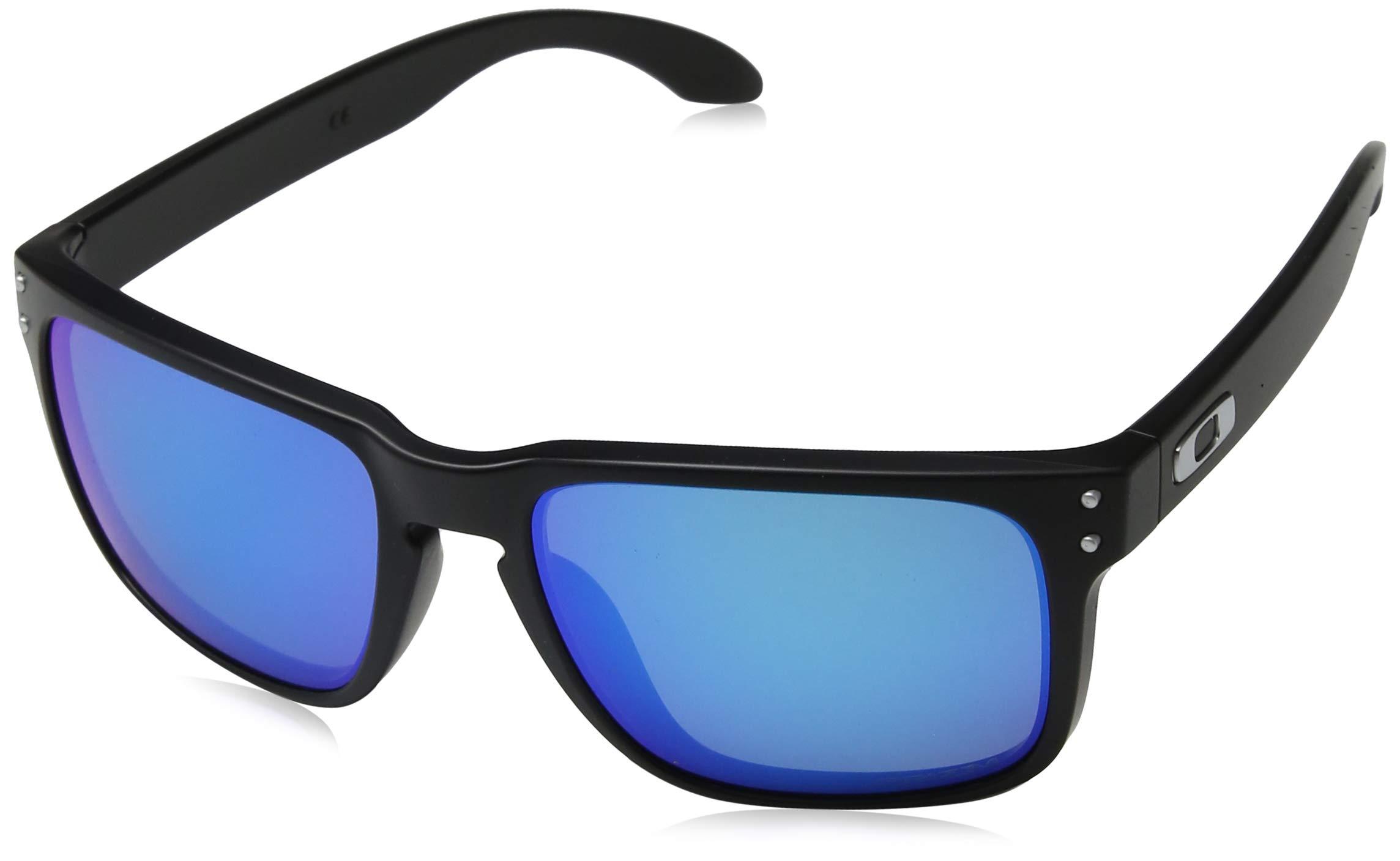 Oakley Men's OO9102 Holbrook Square Sunglasses, Matte Black/Prizm Sapphire Polarized, 57 mm