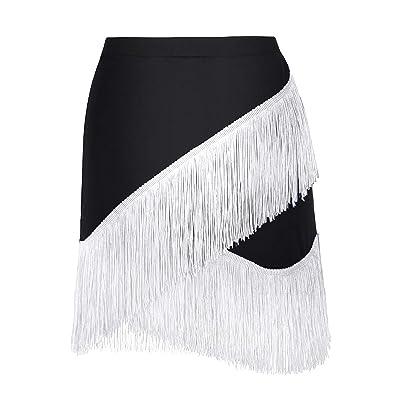 ACSUSS Womens Fashion Fringe Flowing Tassels Latin Skirt Tango Rumba Dancewear at Amazon Women's Clothing store
