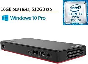 Lenovo ThinkCentre M90n Business Mini Desktop Computer, Intel Quad-Core i7-8665U up to 4.8GHz, 16GB DDR4 RAM, 512GB SSD, 802.11AC WiFi, Bluetooth 5.0, USB-C, Windows 10 Professional, iPuzzle Mouse Pad