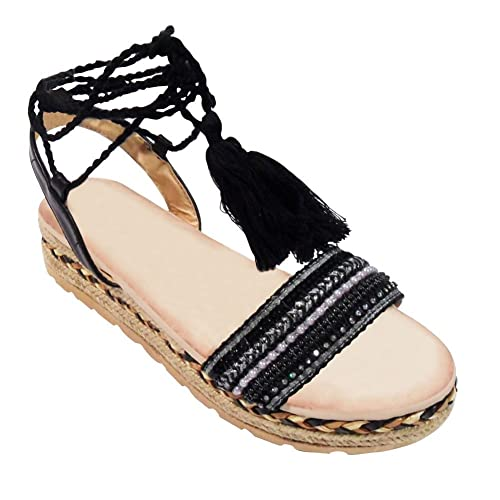 51cbfd81ceba Top Black Gladiator Fringe Cloth Strappy Sandals Junior Cut Out Block Low  Chunky Flat Wedge Open
