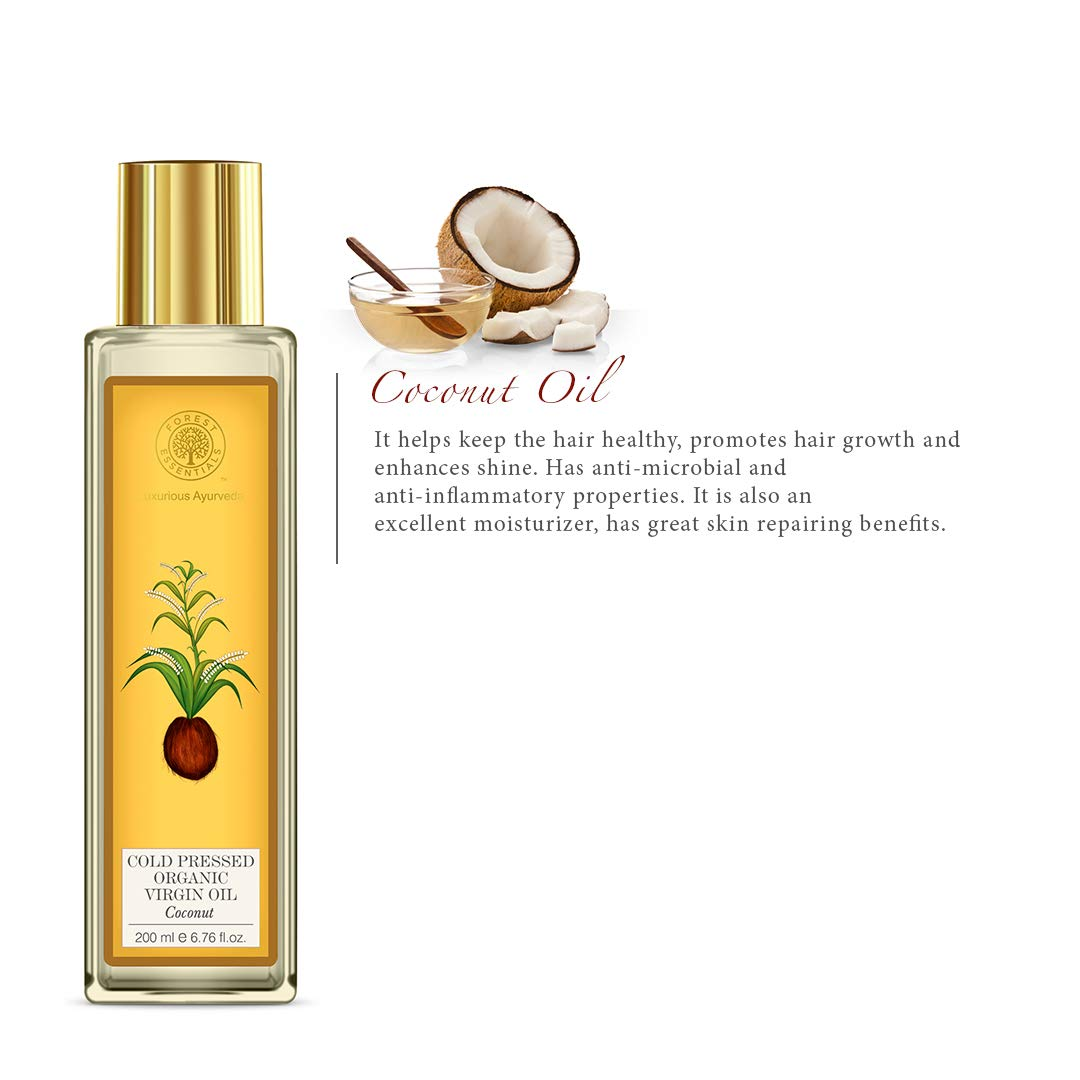 Forest Essentials Organic Cold Pressed Coconut Virgin Oil, 200ml