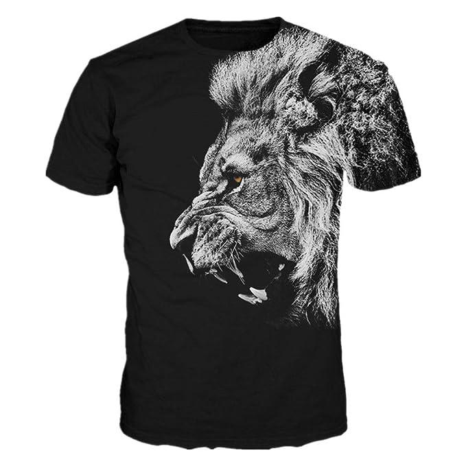 a9ca04d0d948 Mclochy Unisex Realistic 3D Lion T Shirts Summer Short Sleeve Black Tee  Shirt Tops