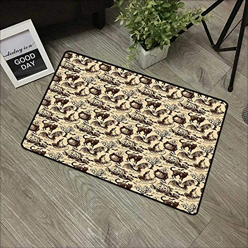 Hall mat W31 x L47 INCH Vintage Halloween,Symbols of Halloween Witch Hat Cauldron Fall Jack o Lantern Black Cat,Light Brown Natural dye Printing to Protect Your Baby's Skin Non-Slip Door Mat Carpet ()