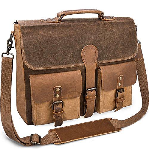 97f1fb34c2 Mens Messenger Bag Vintage Genuine Leather Large Laptop Briefcase 15.6 Inch  Waterproof Waxed Canvas Satchel Shoulder Bag Rugged Leather Computer Work  Bags ...