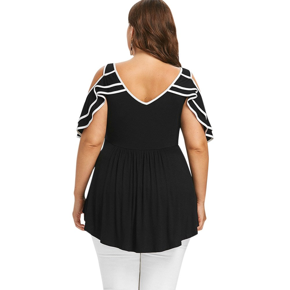 Casey Cottage CNSTORE Summer Womens Comfortable Plus Size Layered Cold Shoulder Women T-Shirt