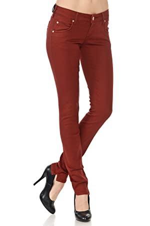 VIRGIN ONLY Women's Junior Size Fitted Skinny Jeans (52 BURGUNDY, Size 7)