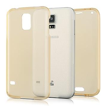 kwmobile Funda para Samsung Galaxy S5 / S5 Neo - Carcasa Completa [360] de [Silicona] para móvil - Cover Doble [Dorado]