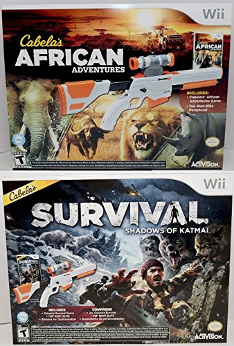 Wii/Wii-U Cabela's African Adventures & Survival Shadows of Katmai Hunting Game Bundle Set from Cabela's