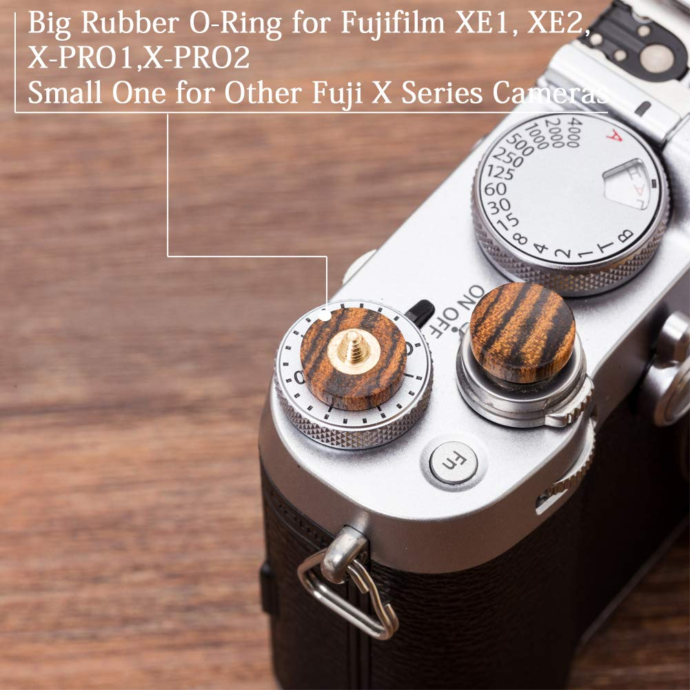Wood Grain Random VKO Wood Soft Shutter Release Button Compatible for Fujifilm X-T30 X-T3 X100F X-T20 X-PRO2 XPRO-1 X30 X100T X100S X-E2 X-T10 M10 M7 M8 M9 Camera 12mm Concave Surface Light Green