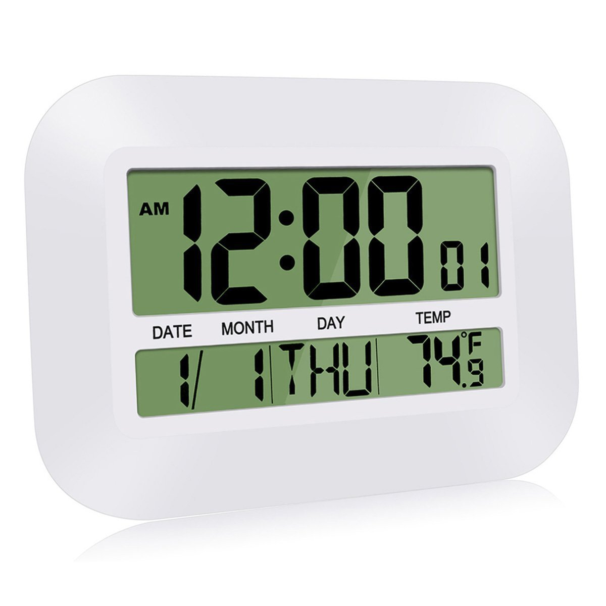 HeQiao Silent Desk Clocks, 12 Inch Digital Wall Clock Battery Operated Simple Large LCD Alarm Clock w/Temperature Calendar Date Day for Home Office (Ivory White)