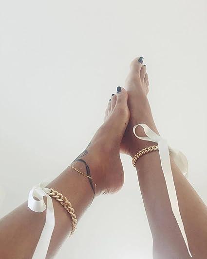 Kercisbeauty Gold Fußkettchen mit Band für High Heels Schuhe Knöchel Fuß Strand Armband Zubehör Einzigartige Vintage Sommer Accessoires