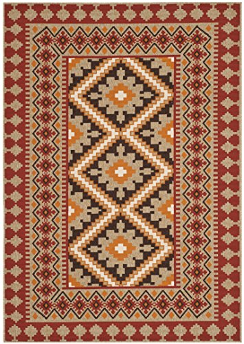 (Safavieh Veranda Collection VER099-0334 Indoor/ Outdoor Red and Natural Southwestern Area Rug (4' x)