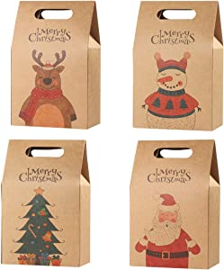 Hemoton 16PCS Christmas Treat Bags Cookies Bags Durable Kraft Paper Bags Gift Wrapping Bags Candy Chocolate Cookies Food Storage Bags for Christmas Party