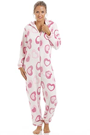 Camille Ladies Nightwear Pink and White Heart Super Soft Fleece Hooded Onesie 10/12 PINK