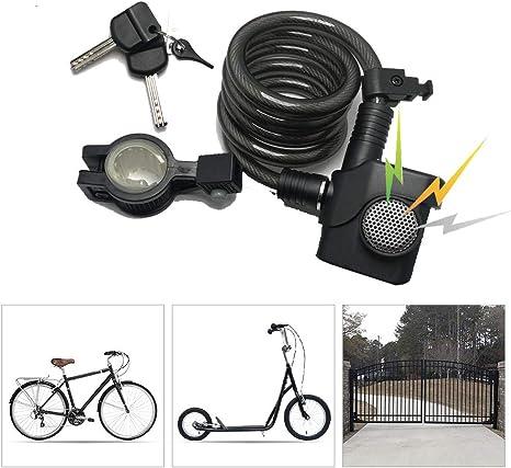 KuaiKeSport Candado Bici con Alarma de Vibración,Candado Bicicleta ...